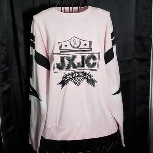 Juicy Couture Racer Crest Sweater in Hush Pink NWT